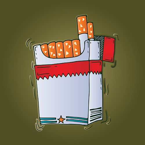 A cartoon image of a box of cigarettes.