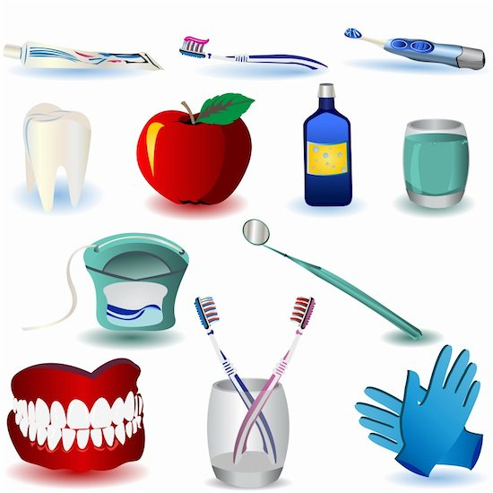 A graphic illustration of several dental tools.