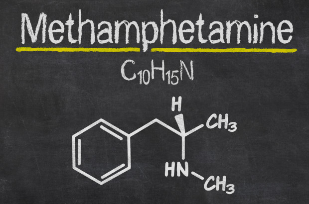 The molecular structure of methamphetamine.